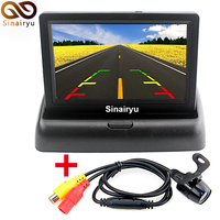 Sinairyu Univeral 4.3 Pollice A Colori TFT LCD Parking Car Rear View specchio Monitor per il Backup Telecamera Retromarcia Con 2 RCA Video Player