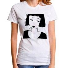 Smoking Girl Anime Tee Shirt Funny Punk Harajuku Hip Hop Rock Tshirt Women Black White T-shirt Femme