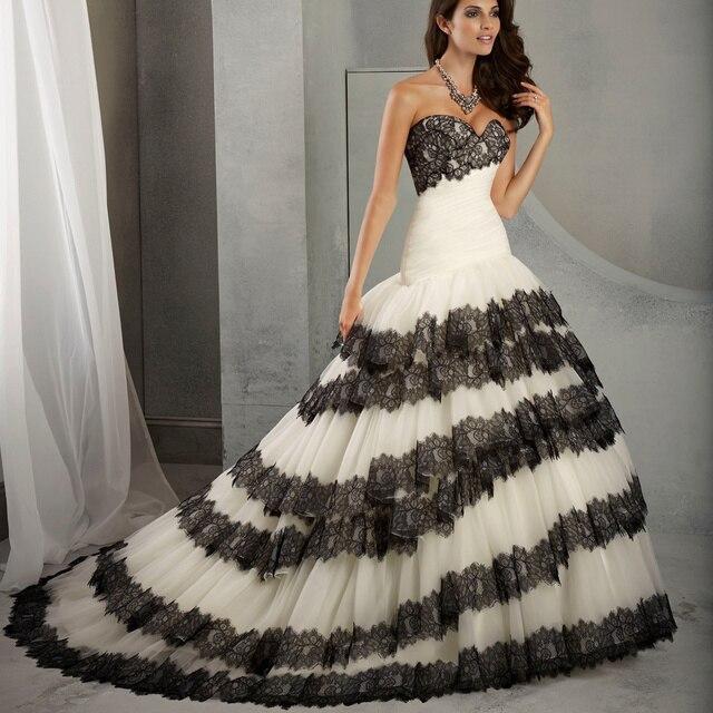White And Black Wedding Dresses Lace Mermaid Bridal Dress Wedding