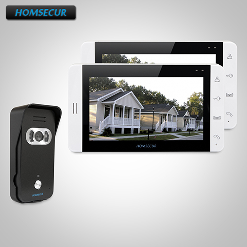 HOMSECUR 7 Wired Hands-free Video Door Entry Security Intercom+White Monitor 1C2M:TC021-B Camera(Black)+TM703-W Monitor (White)