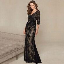 Modische Wulstige Spitze Bodenlangen Formale Kleid Glamorous Durchsichtig 3/4 Sleeve Abendkleider 2016 Vestido de Noite