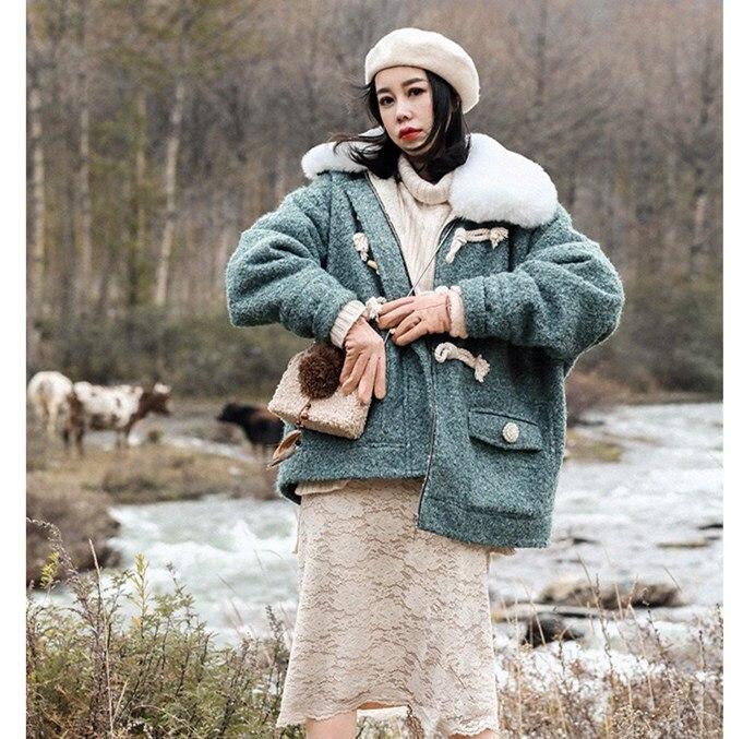De Laine D'agneau Survêtement As Pic Court Lâche Épais Chaud Corne Occasionnel 2019 Veste Shown Femmes Bouton fcAO7nvx6W