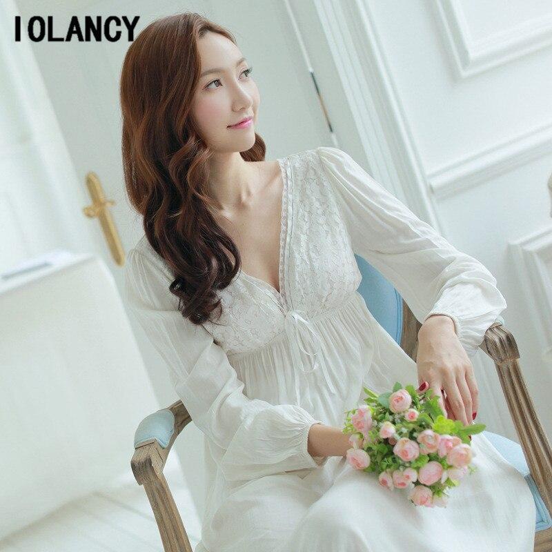 64e2e07442594 Maternity Sleepwear Pijama Retro Palace Nightgown Women V Neck Lace Cotton  Long Sleeved White Pajamas Dress. sku: 32816653999