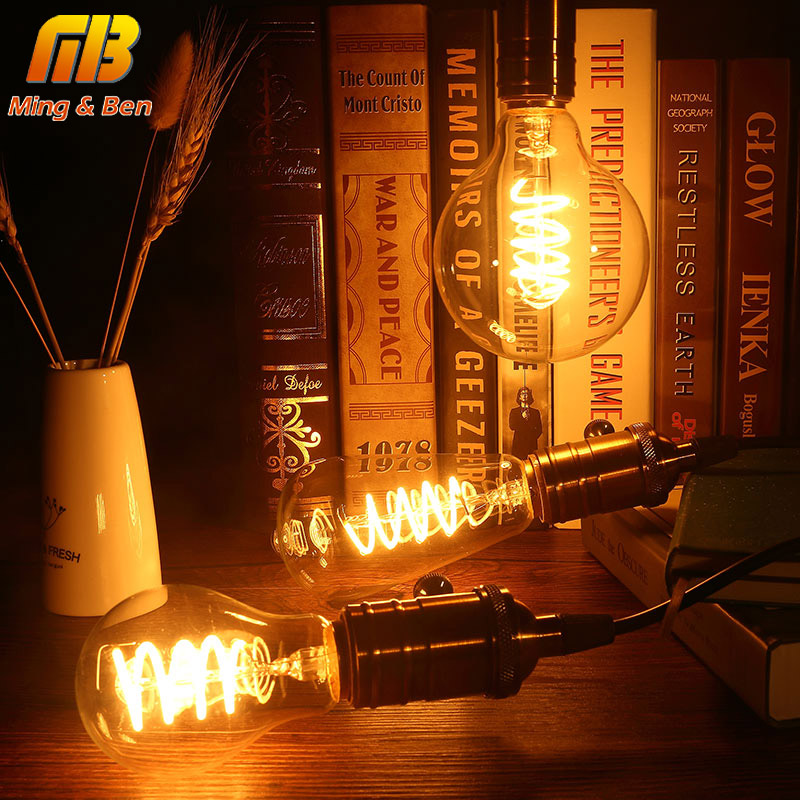 [MingBen] Vintage Edison LED Bulb ST64 G95 A60 Dimmable E27 Soft LED Filament Lamp 220V-240V 3W Bulb Spiral Design Warm Yellow free shipping g95 edison spiral led filament bulb 4w 220v dimmable supper warm 2200k amber glass antique edison lamp bulb