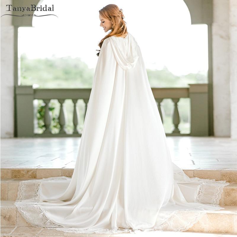 b44ffaedda Detail Feedback Questions about BRIDAL CAPE with hood off white cape Silk  Satin Long Wedding Cloak Lace Edge Women Formal Shawl DJ066 on  Aliexpress.com ...
