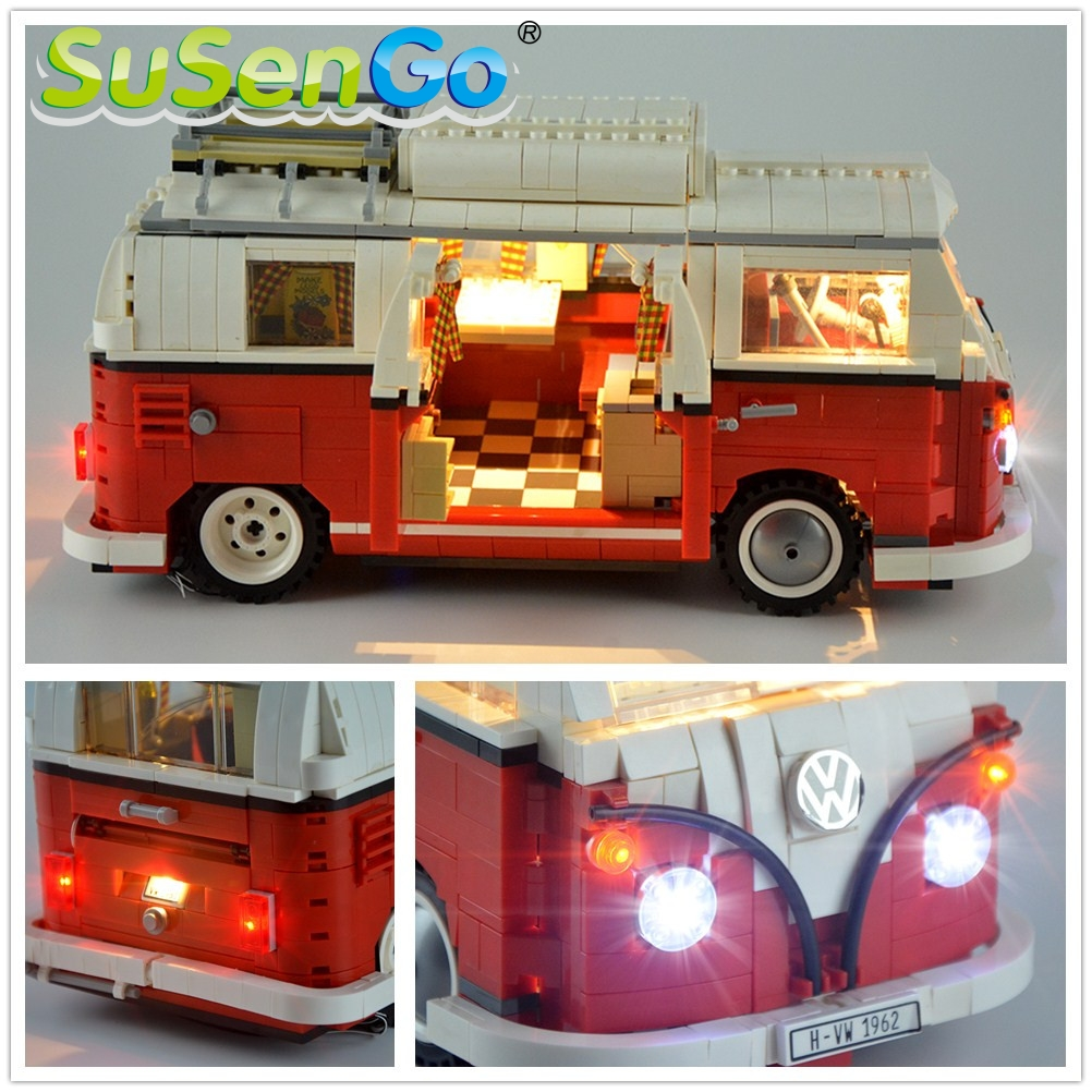 SuSenGo LED Light Kit For Creator 10220 T1 Camper Van Lighting Set Compatible With 21001 10569 (NOT INCLUDE THE CAR MODEL )