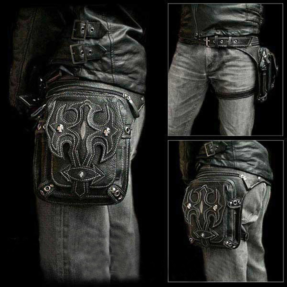 Top Quality PU font b Leather b font Mens Waist Leg Drop Bag Punk Rock Bum