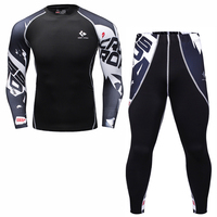 Mens Compression T Shirt Pants Set Bodybuilding Tight Long Sleeves Shirts Leggings Suits MMA Crossfit Workout