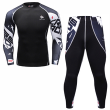 Mens Compression T Shirt Set Bodybuilding Tight Long Sleeves Shirts Leggings Suits MMA Crossfit Workout Fitness Sportswear