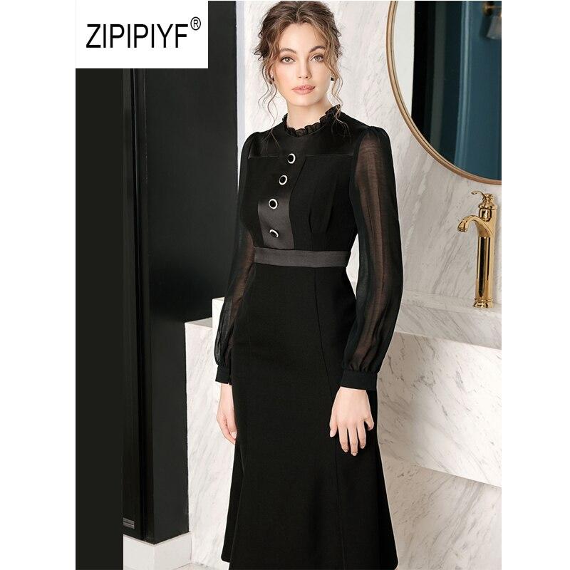 Negro ORIGINAL elegante vestidos de señora de la Oficina con volantes botones Vestido de manga de linterna de sirena vestido de fiesta moda lente damesmode AB394-in Vestidos from Ropa de mujer    1