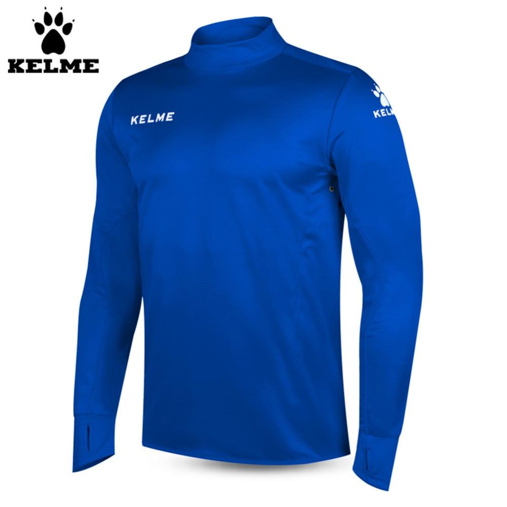 Kelme K15Z304 Men Soccer Jerseys Polyester Stand Collar Sharkskin Training Long-sleeved Pullover Dark Blue skulls printed pullover round collar tank top for men