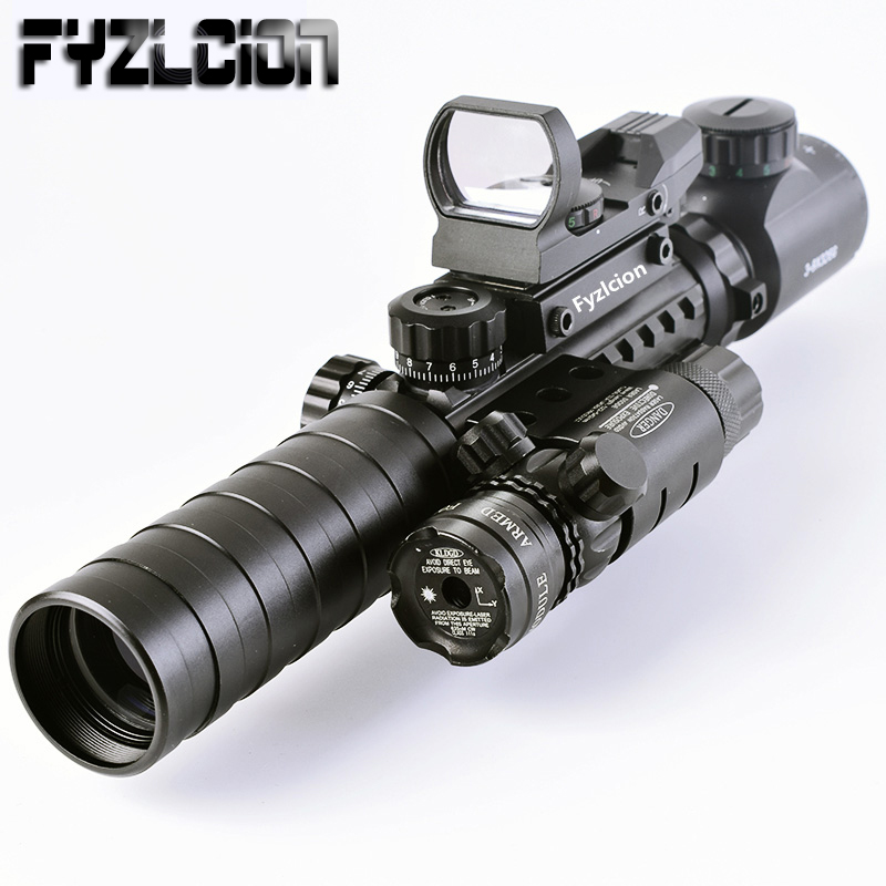 Tactical 3-9X32EG Riflescope Long Range Red Dot Laser/ Red/Green Dot Holographic Reflex Sight 3 in 1 Combo for Rifle /Airsoft