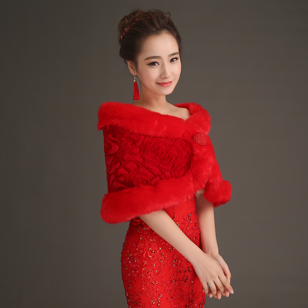 f356044835a New Arrival Red Pearls Beaded Faux Fur Short Wedding Jacket Wraps Winter  Formal Dress Bridal Coats Bolero Wedding AccessoriePJ58-in Wedding Jackets    Wrap ...