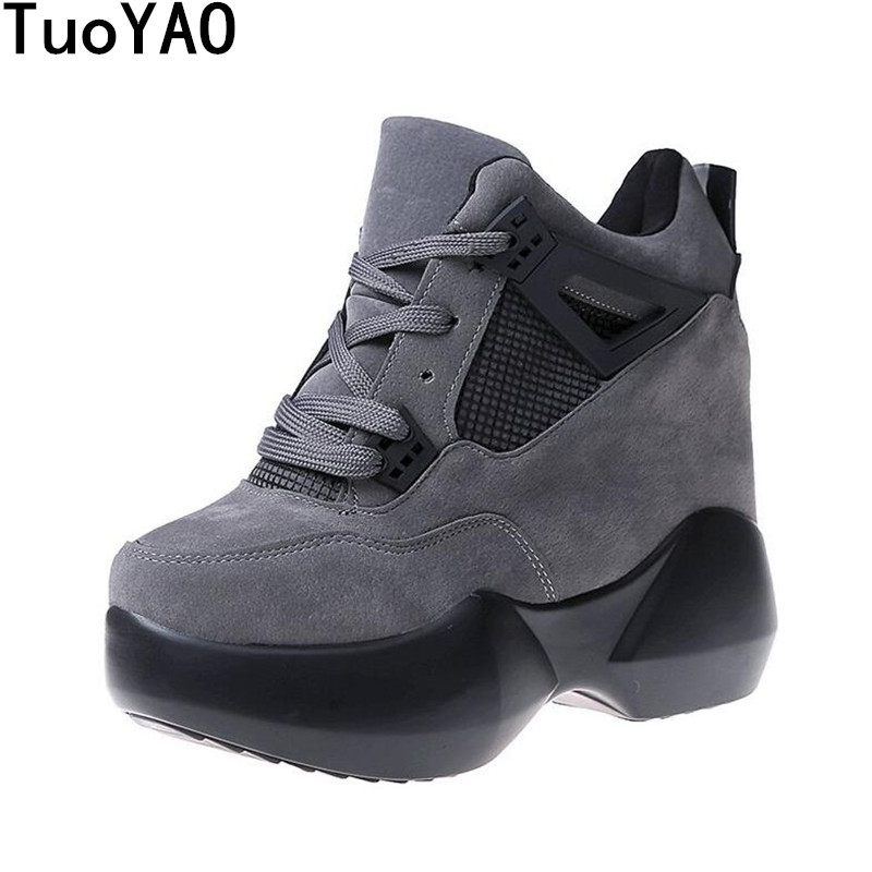 Women's High Heels 2019 Fashion Breathable PU Shoes Women Platform Height Increased Shoes 12 CM Thick Sole Zapatos Mujer