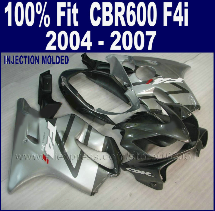 все цены на  ABS Injection silver gray fairing kit for Honda cbr 600 f4i 04 05 06 07 cbr 600 f4i 2004 2005 2006 2007 bodywork  set  онлайн