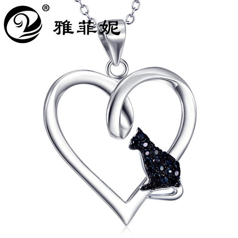 silver accessories in Europe and the heart-shaped pendant group undertakes to cat crystal necklace jewelry manufacturer