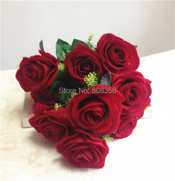 Heads Piece Fake Chinese Red Rose Simulation Flowers For Wedding