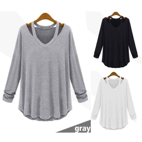 Sexy Coller Blouses Women Ladies Shirts Long Sleeve Loose Blouse