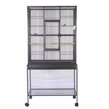 Bird Parrot Cage Chinchilla Cockatiel Conure Large Cockatiel Cage House Metal Wheels Black(China)