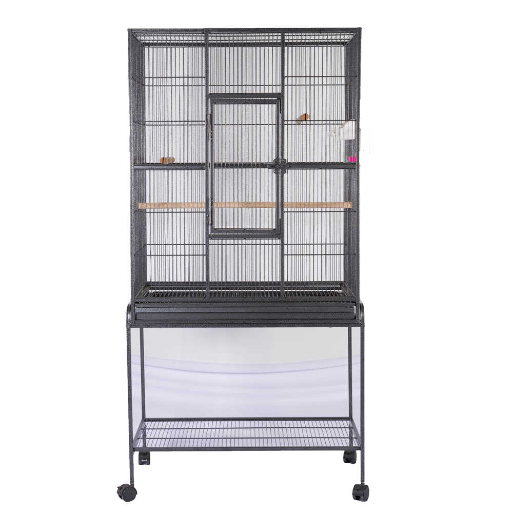 Bird Parrot Cage Chinchilla Cockatiel Conure Large Cockatiel Cage House Metal Wheels Black