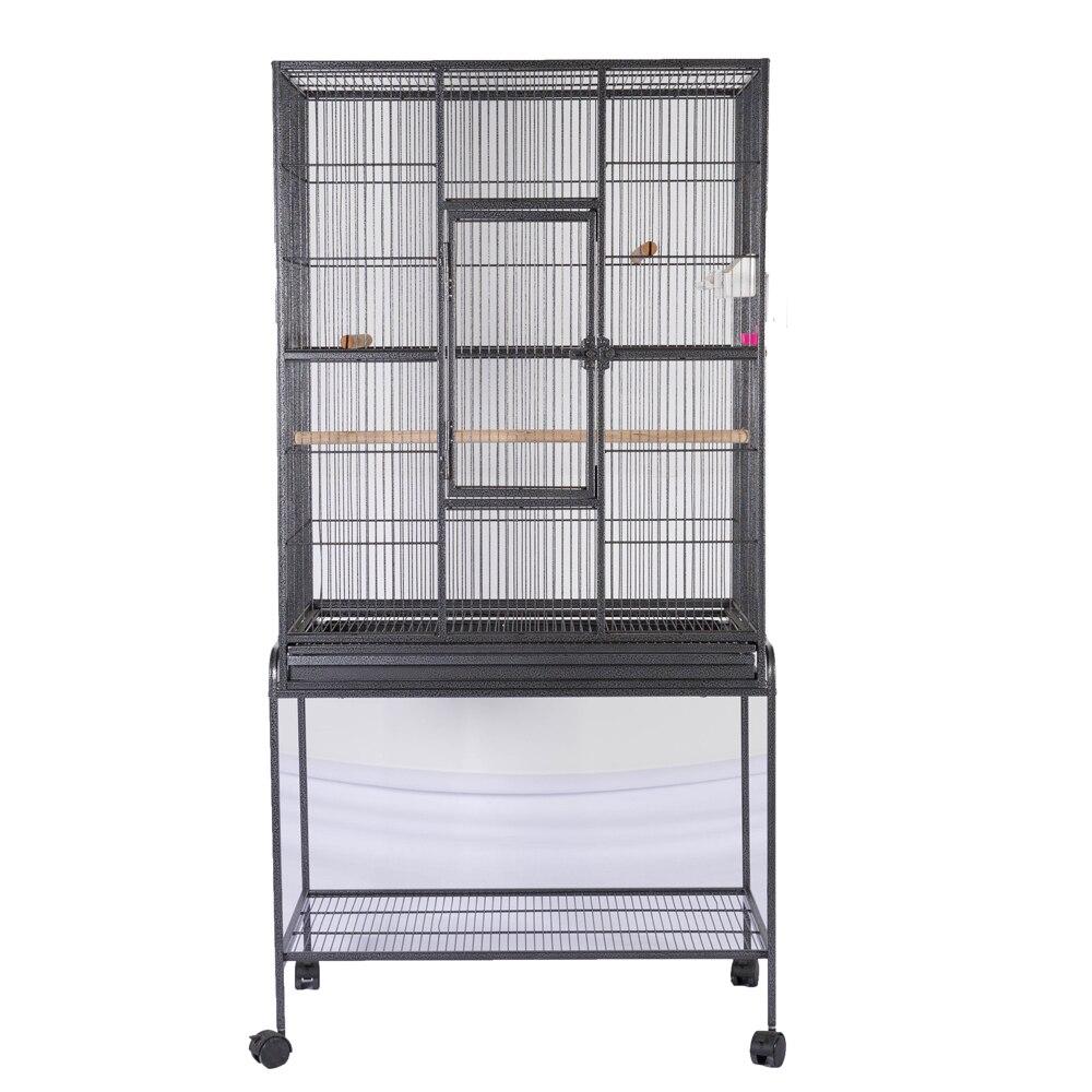 Oiseau Cage à perroquet Chinchilla Calopsitte Conure Grand Calopsitte Cage Maison Métal Roues Noir