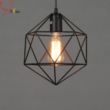 Dia 22cm LOFT Diamond Iron art Chandelier,Vintage retro polygon metal cage pendant lamp lighting lampshade hanging light fixture