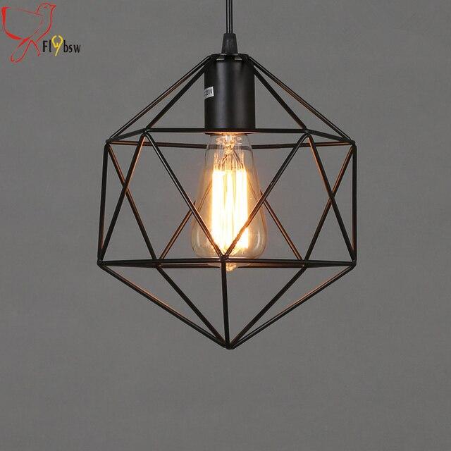 Dia 22cm loft diamond iron art chandeliervintage retro polygon dia 22cm loft diamond iron art chandeliervintage retro polygon metal cage pendant lamp lighting mozeypictures Choice Image