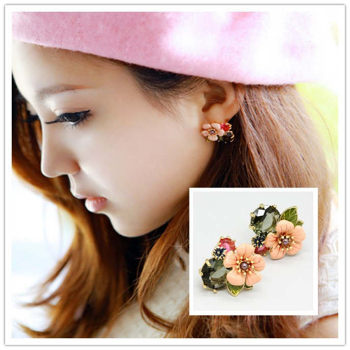 French Counter Genuine Les Nereides Enamel Glaze Pink Flower Crystal Earring Ear Clip Princess Style Jewelry In Stud Earrings From Accessories
