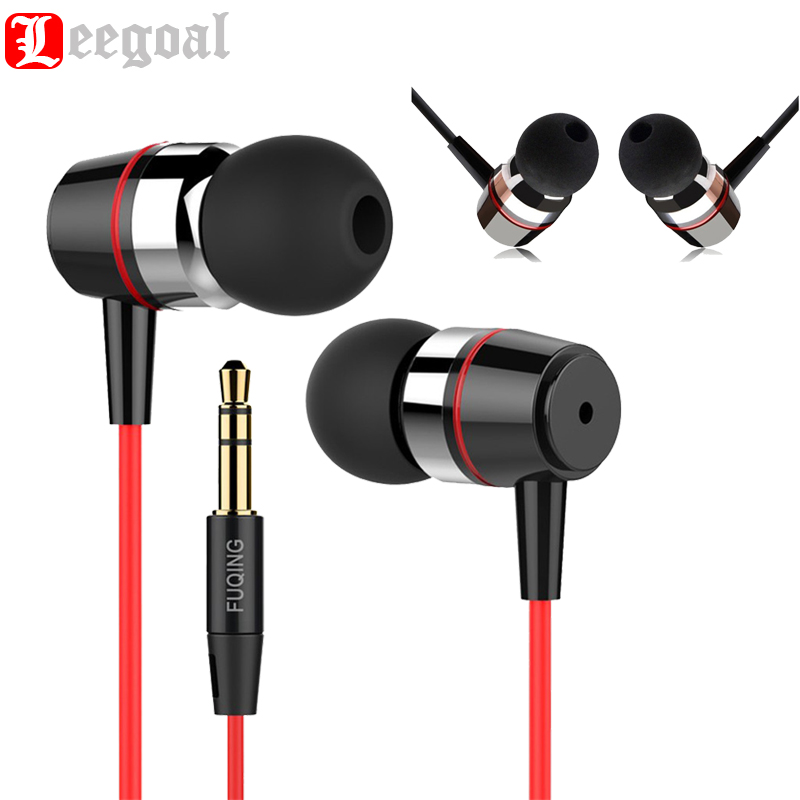 Original FUQING Universal 3.5MM Wired Bass Metal In-ear Earphone Super Clear Metal Earpiece Noise Isolating Computer MP3Earbuds dhl free 2pcs black white m6 pro universal 3 5mm wired in ear earphone noise isolating musician monitors brand new headphones