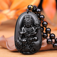 Light Obsidian Samantabhadra pendant twelve zodiac snake natal Buddha jewelry eight patron of men and women