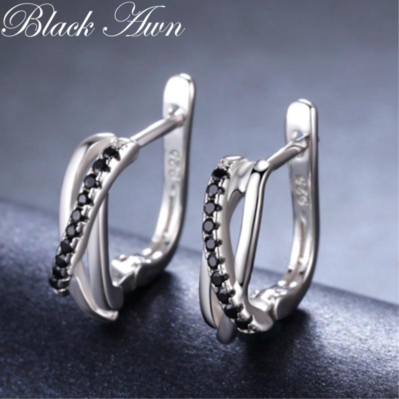 925-Sterling-Silver Jewelry Stud-Earrings Spinel-Stone Black Women Cute Genuine Classic