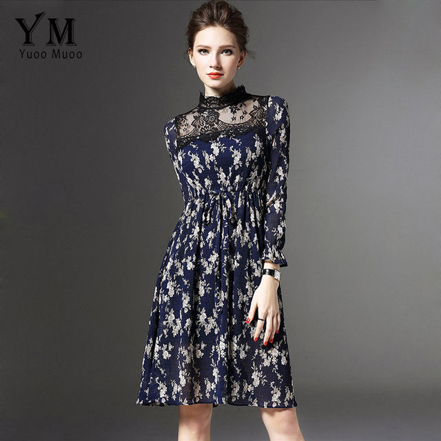 YuooMuoo Spring Sexy Lace Patchwork Chiffon Dress Butterfly Sleeve Floral Printed  Women Dress European Modern Women Clothing f03fdc816fe8