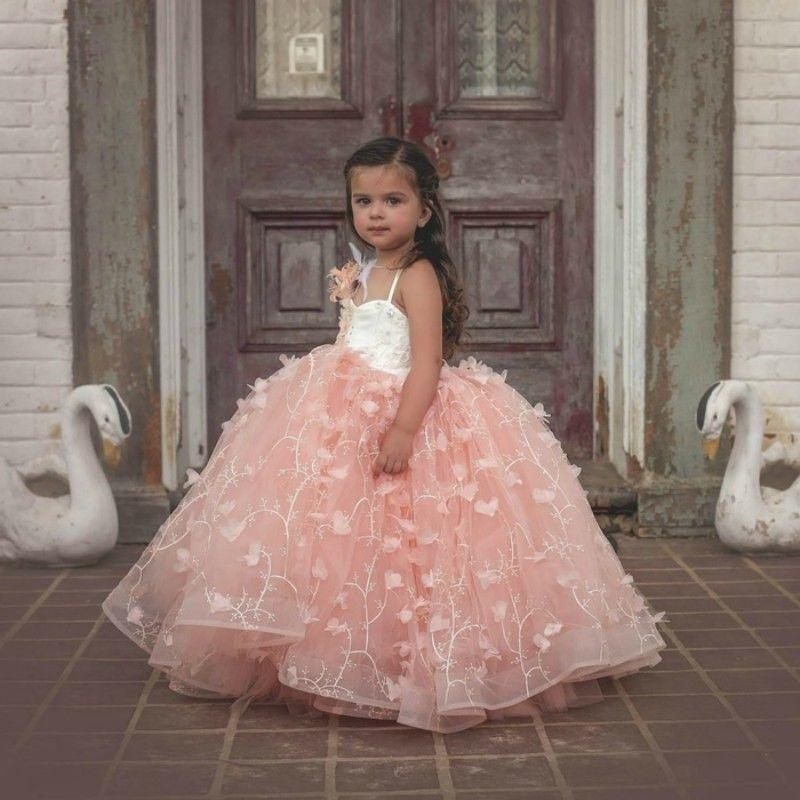 Розовый Роскошный платье для девочек нарядные блестящие настоящая фотография