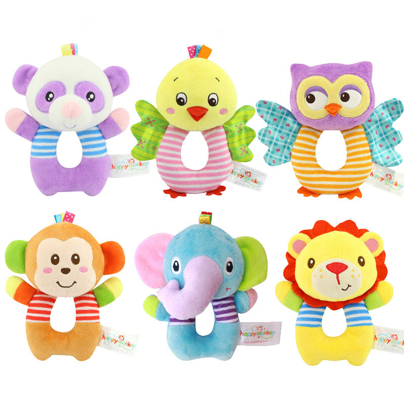 Cute Baby Toys 0-12 Months Rattles Animal Round Cartoon Hand Bells  Early Education Toys For Newborns Puzzle Plush Toy