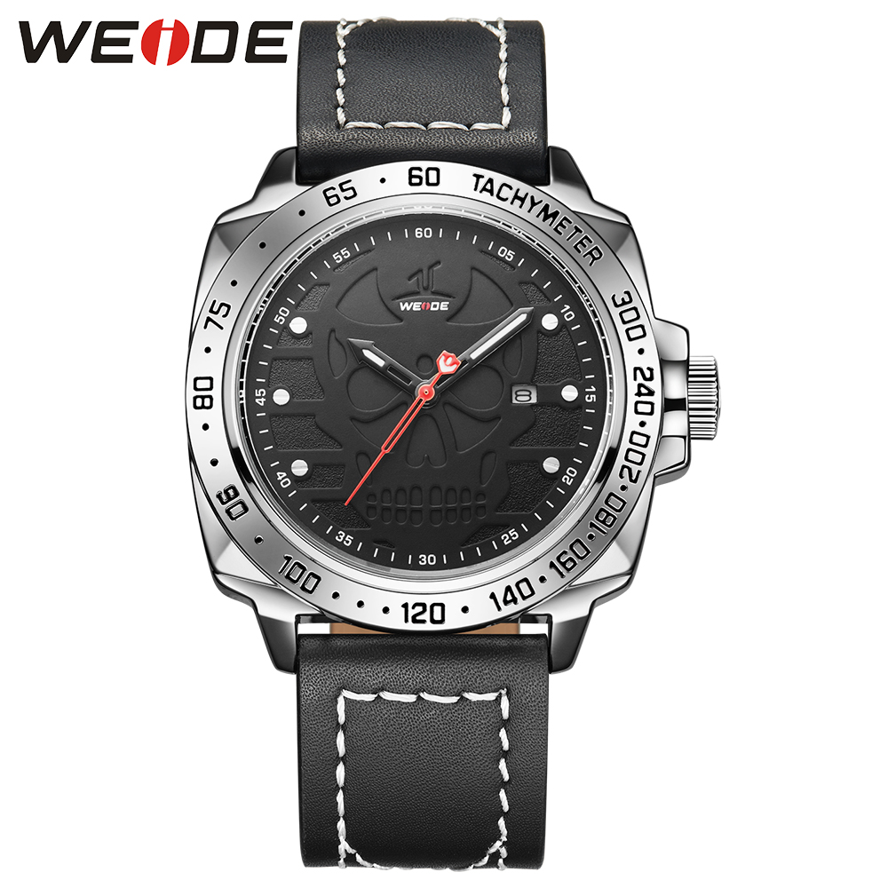WEIDE Men Sport Black Atuo Date Leather Strap Buckle Calendar Watch Analog Clock Black Skull Dial Military Quartz Men Wristwatch weide men watches clock analog quartz movement calendar date black leather strap band buckle hardlex wristwatches for sport