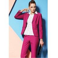 Лидер продаж розовые штаны костюмы для Для женщин на заказ женские деловые костюмы Формальные Офис деловой костюм комплекты офисный унифор