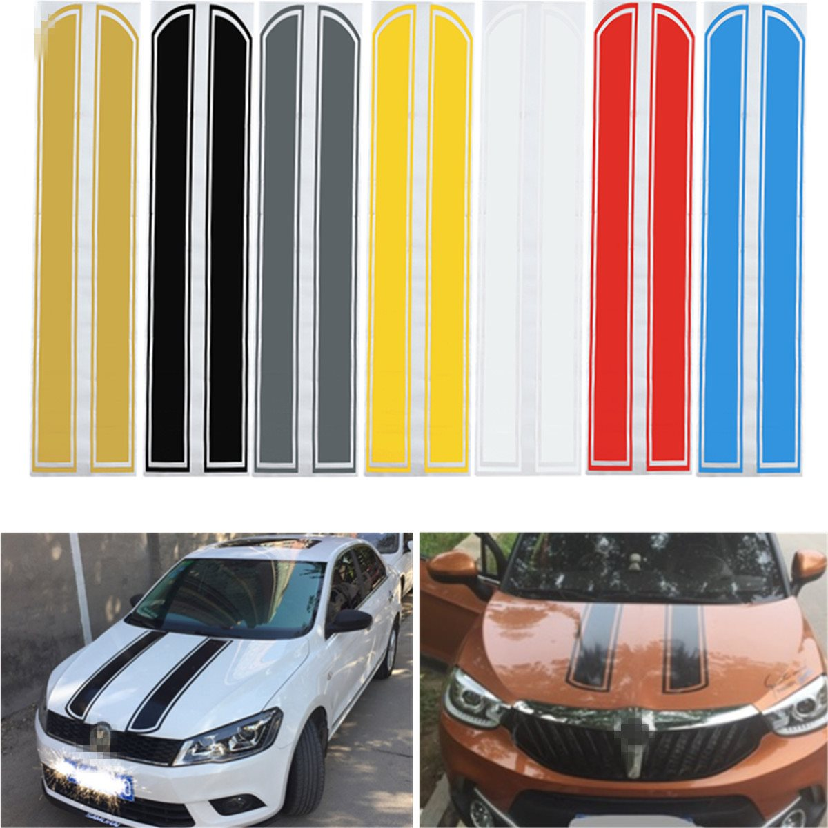 Universal 130cm x 24cm Car Hood Scratched Stickers Engine Cover Styling Reflective Decal Stripe Vinyl DIY Decoration PVC junction produce jp luxury reflective windshield sticker ho car auto motorcycle vinyl diy decal exterior window body car styling
