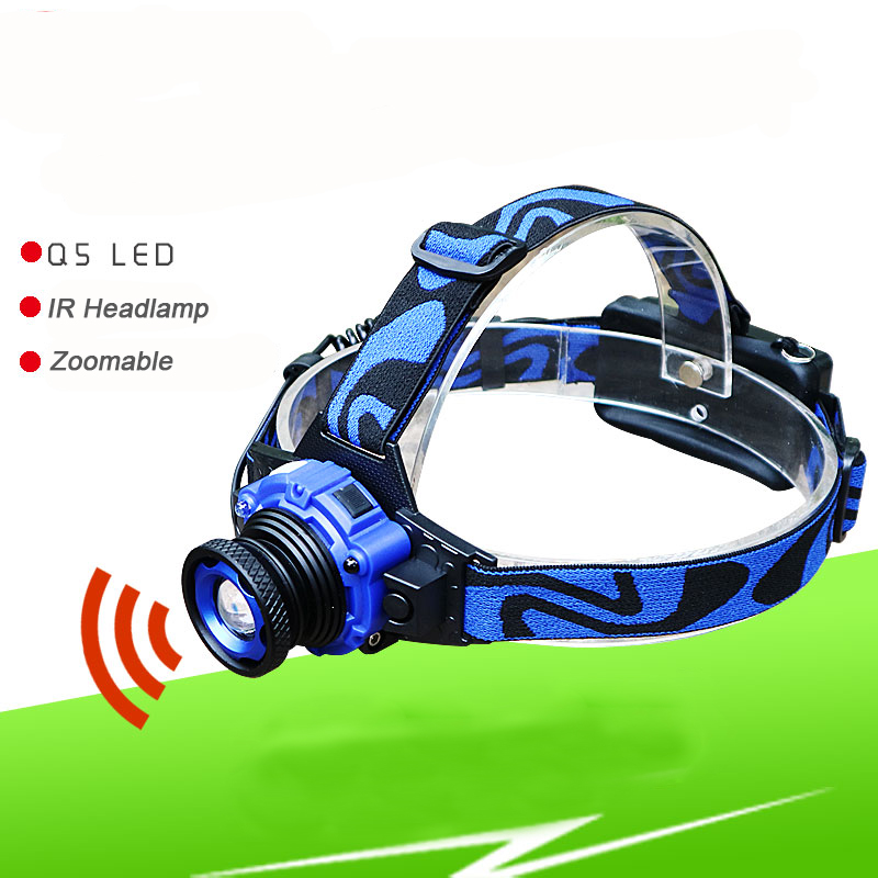 IR Sensor Powerful LED 3 Modes Headlight CREE XPE Headlamp 3000 Lumen Head Lamp Torch Flashlight 18650 Rechargeab