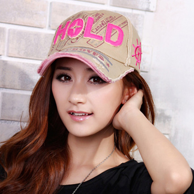 Hold baseball cap retro finishing hiphop letter casual male female hat
