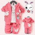 Весна девочки комикс кролик три части дети одежда комплект младенцы дети девочки ( куртка + брюки + t рубашка ) костюмы