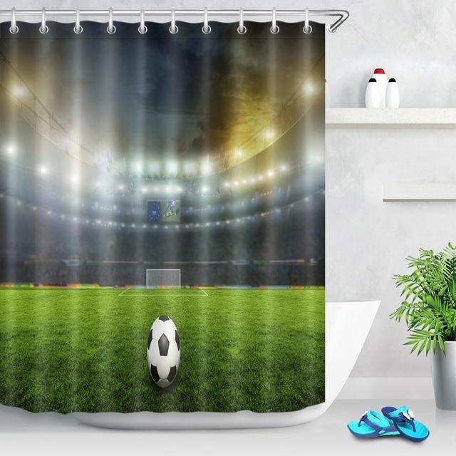 LB Shower Curtains 180180 Indoor Football Field American Soccer Ball Bathroom Curtain Polyester Waterproof
