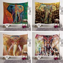 Fashion Cool Chic Elegant Elephant Colored Printed Witchcraft Decorative Hippie Mandala Macrame Bohemian Wall Hanging Tapestry