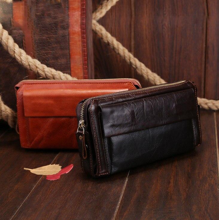 ФОТО Genuine Leather Men wallets purse men fashion zipper clutch wallet large capacity men purses wallets leather handbag 9332