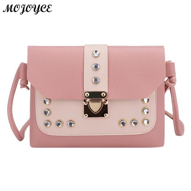 e8d3d3130ab0 Fashion Women Messenger Bags Leather Rivet Handbags Sweet Girls Shoulder Bag  High Quality Tote Small Crossbody Bolsas Feminina