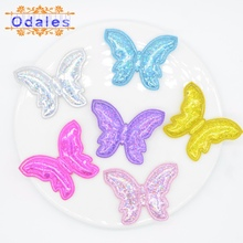30Pcs Kawaii Laser Butterfly Appliques Baby Girls Sandals Bow Shoes DIY Crafts Patches for Clothes Sewing Supplies Decoration