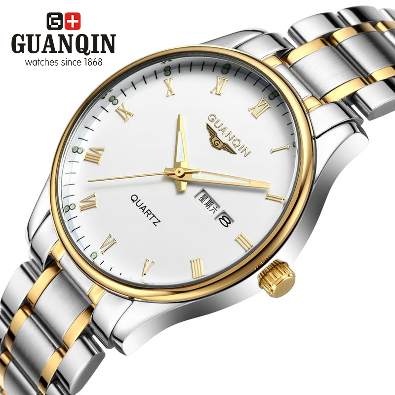 Original GUANQIN Men Watches Top Brand Luxury Quartz Watch Steel Wristwatches Relogio Masculino Business Men Watch Reloj Hombre new relogio masculino gold top luxury brand business casual quartz watch men stainless steel military watches reloj hombre hot