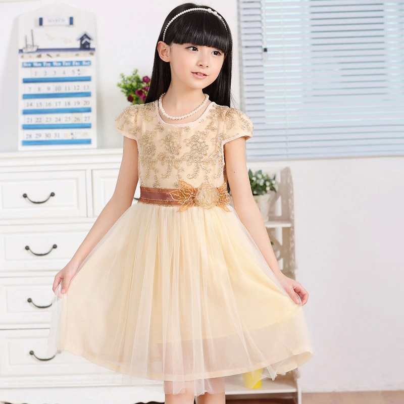New Designs Children Party Frocks Dresses For Girls Summer Elegant Flower Embroidery Tulle Dress With Flower Reine Des Neiges