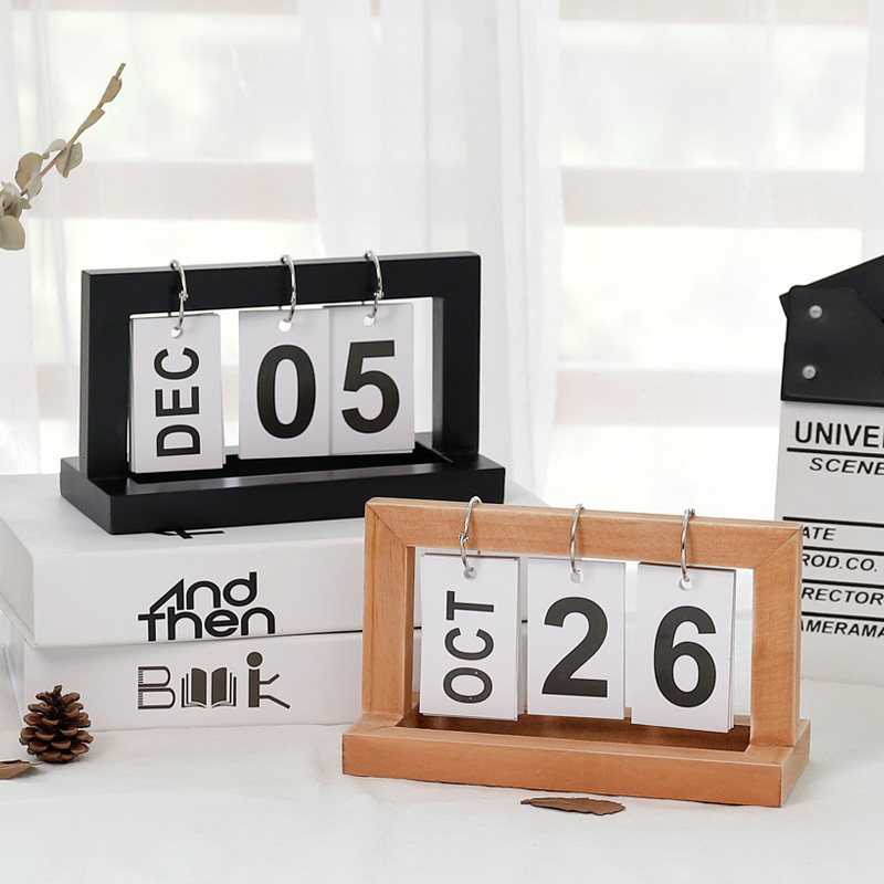 Creative Wooden Flip Calendar Simple Home Desktop Small Ornaments Study Bedroom Living Room Home