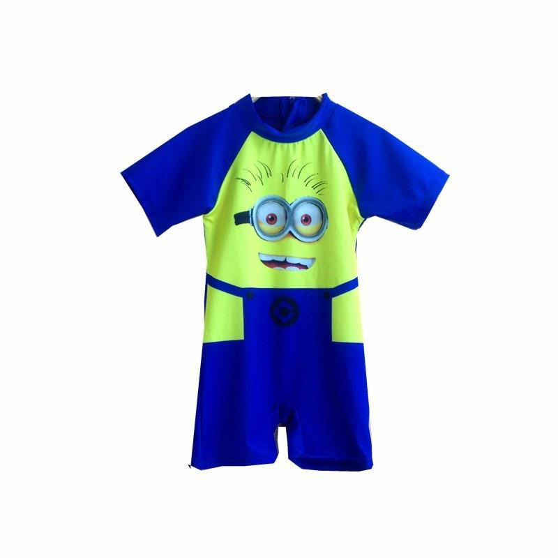 Hot Sale! Protection Baby Beachwear Cartoon Costume Boys One Piece Swimsuit Kids Minions America Childrens Swimwear P107