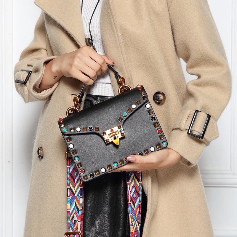 Vvmi new women handbag colorful rivet messenger bags female vintage hasp wide strap single shoulder handbag brand designer
